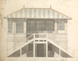 Colored elevations of three sides of Mr. Hunter's House at Gubbins, or Gobions, in the parish of North Mims, formerly the property of Sir Thomas More